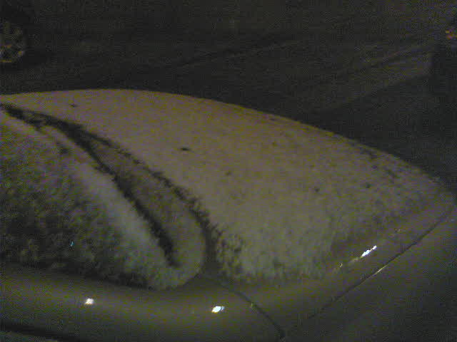 Car covered in hail