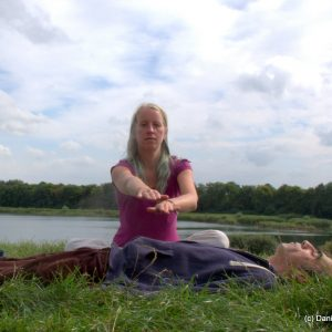 Jyothi giving Reiki in Nature